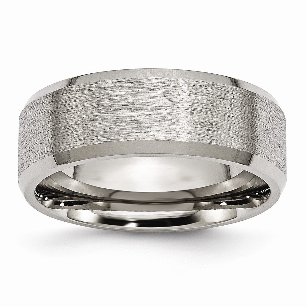 Titanium Beveled Edge 8mm Satin and Brushed Band
