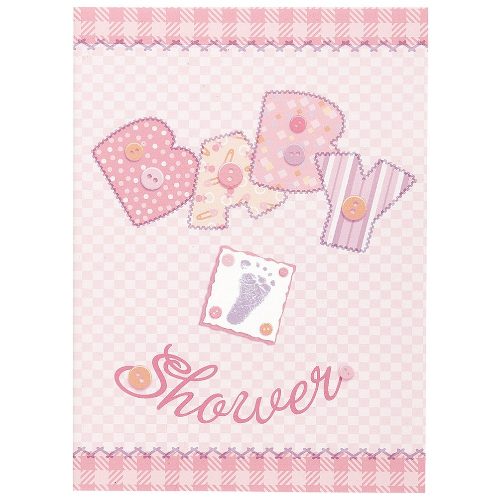 8ct Unique Industries Inc Pink Stitching Girl Baby Shower Thank You Note Cards kitchen 24238