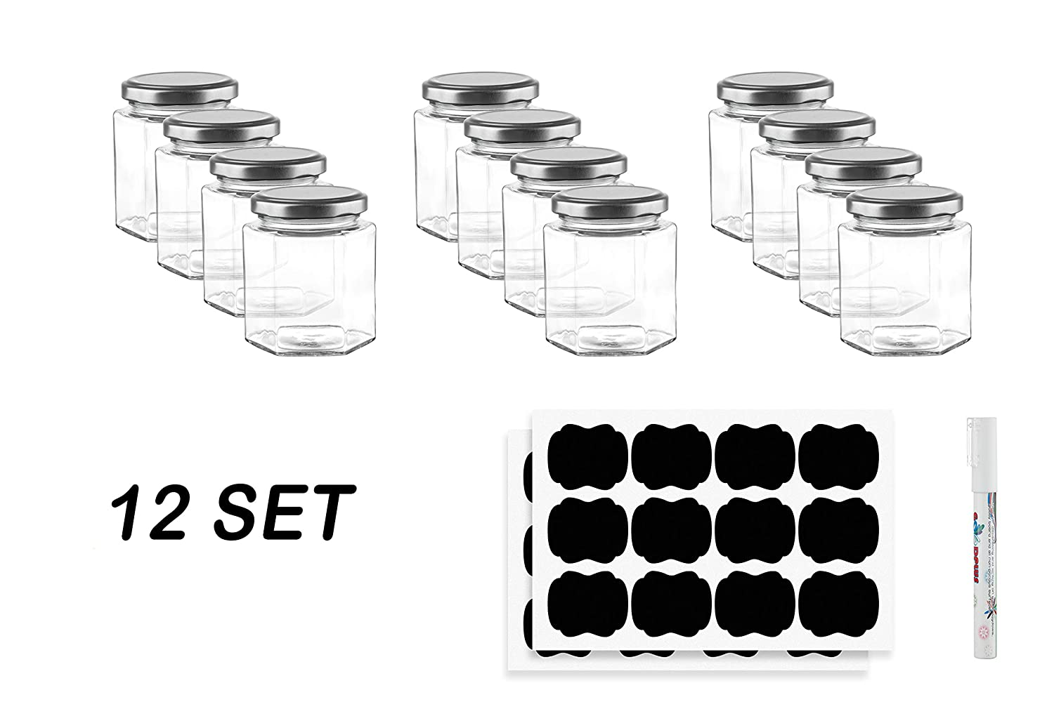 4 oz Small Hexagon Glass Spice Herb Jars with Lids for Baby Food Storage Containers, DIY Home Garage Arts and Crafts, Canning, Wedding Party Favors, Jelly, Sauces & More with Chalk Sticker Labels & Pe