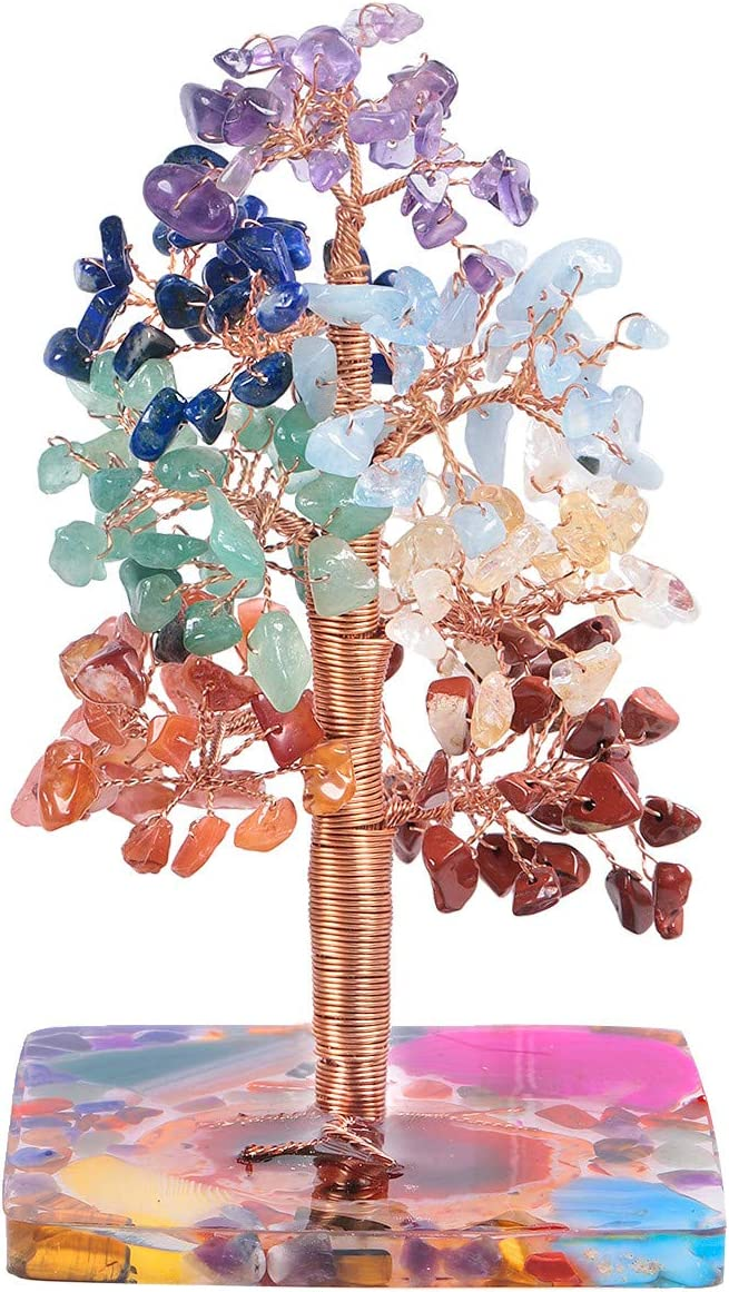 TUMBEELLUWA Energy 7 Chakra Crystal Money Tree with Colorful Stones Resin Base Tumbled Stones Bonsai Decor for Home Office Feng Shui Decoration for Good Luck and Wealth