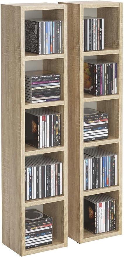 idimex etageres modulables musique pour cd et dvd lot de 2 meubles de rangement en colonne avec 10 compartiments en melamine decor chene sonoma