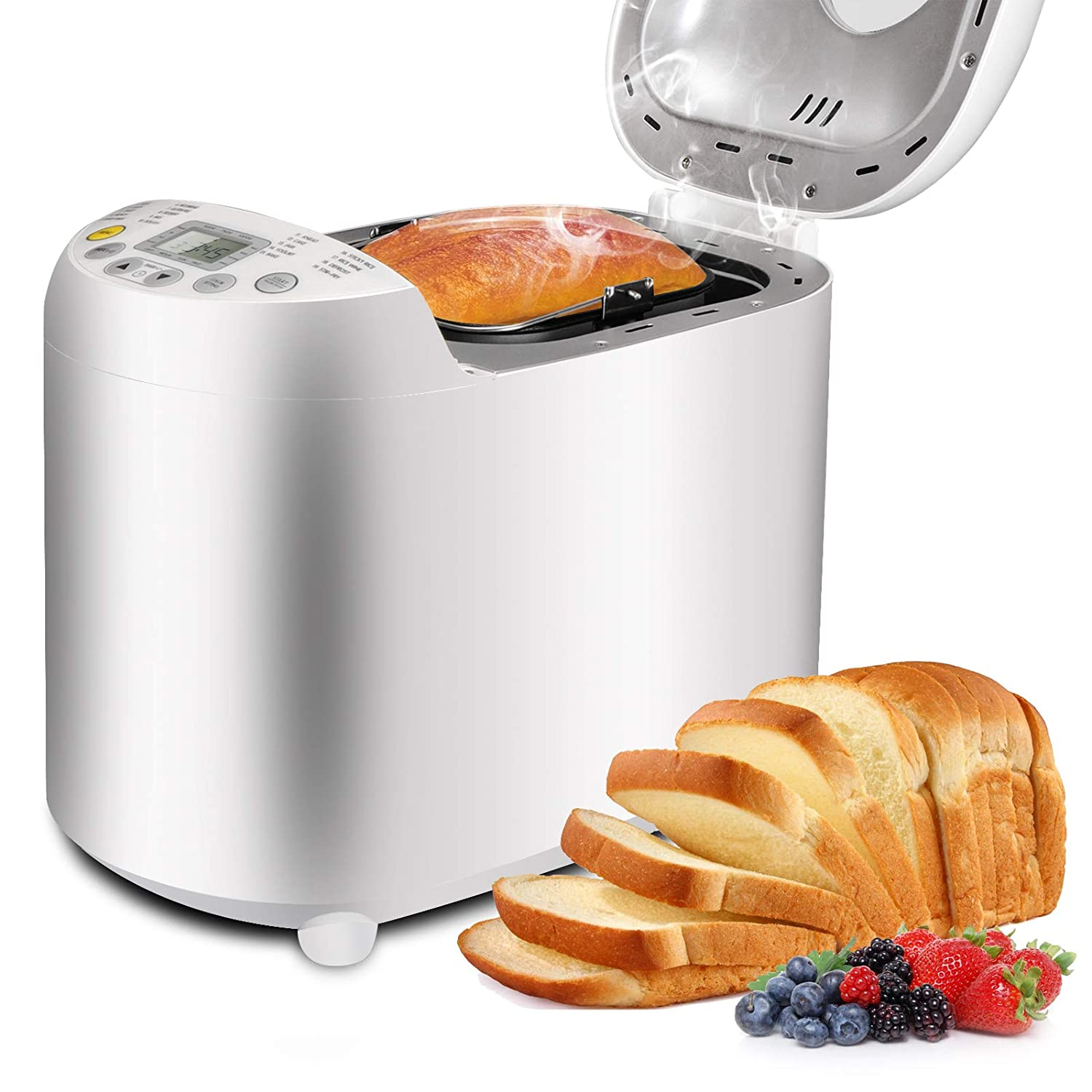 SUPER DEAL Upgraded Breadmaker Full Automatic Stainless Steel Programmable Bread Maker - 19 Baking Functions - 3 Crust Color - 15 Hours Delay Time - PRO LCD Display