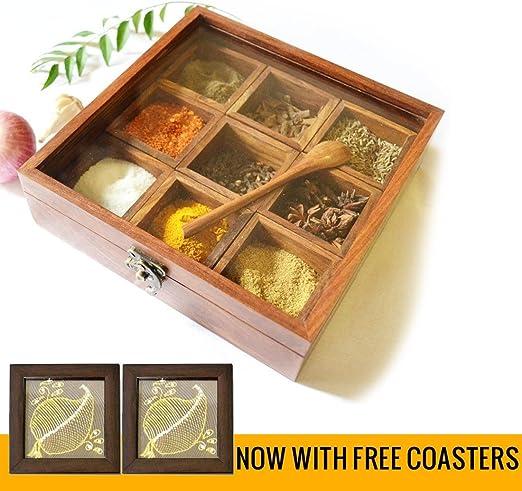 Amazon.com: Caja de especias – soporte de madera Sheesham ...