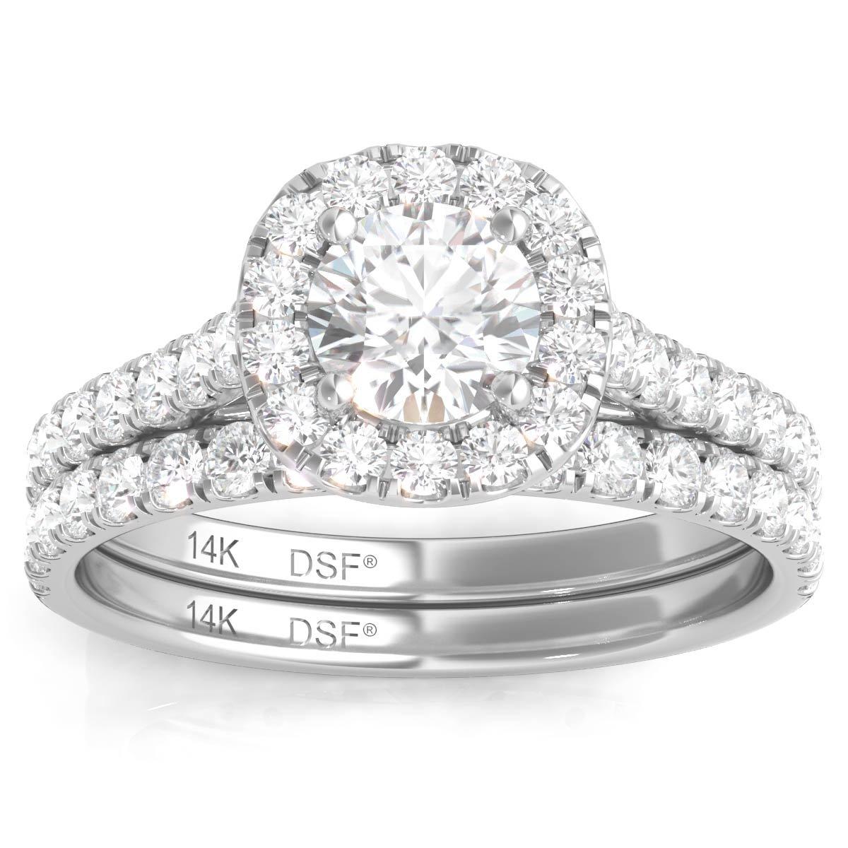 Amazon Com Diamond Studs Forever 14k White Gold Diamond Halo