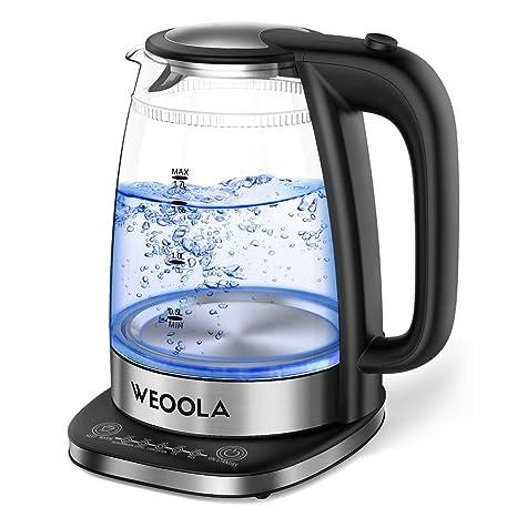 WEOOLA Hervidor Agua Cristal, 1.7 L Hervidor Eléctrico de Agua Pequeño Libre BPA con LED