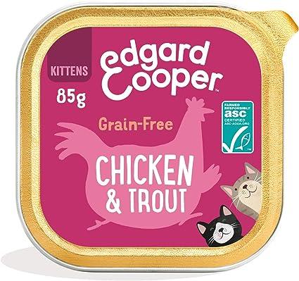 Edgard & Cooper Comida humeda Gatos Kitten sin Cereales, Natural con Pollo Fresco y Truchas con certificación ASC. Comida Sana Rica en nutrientes y ...