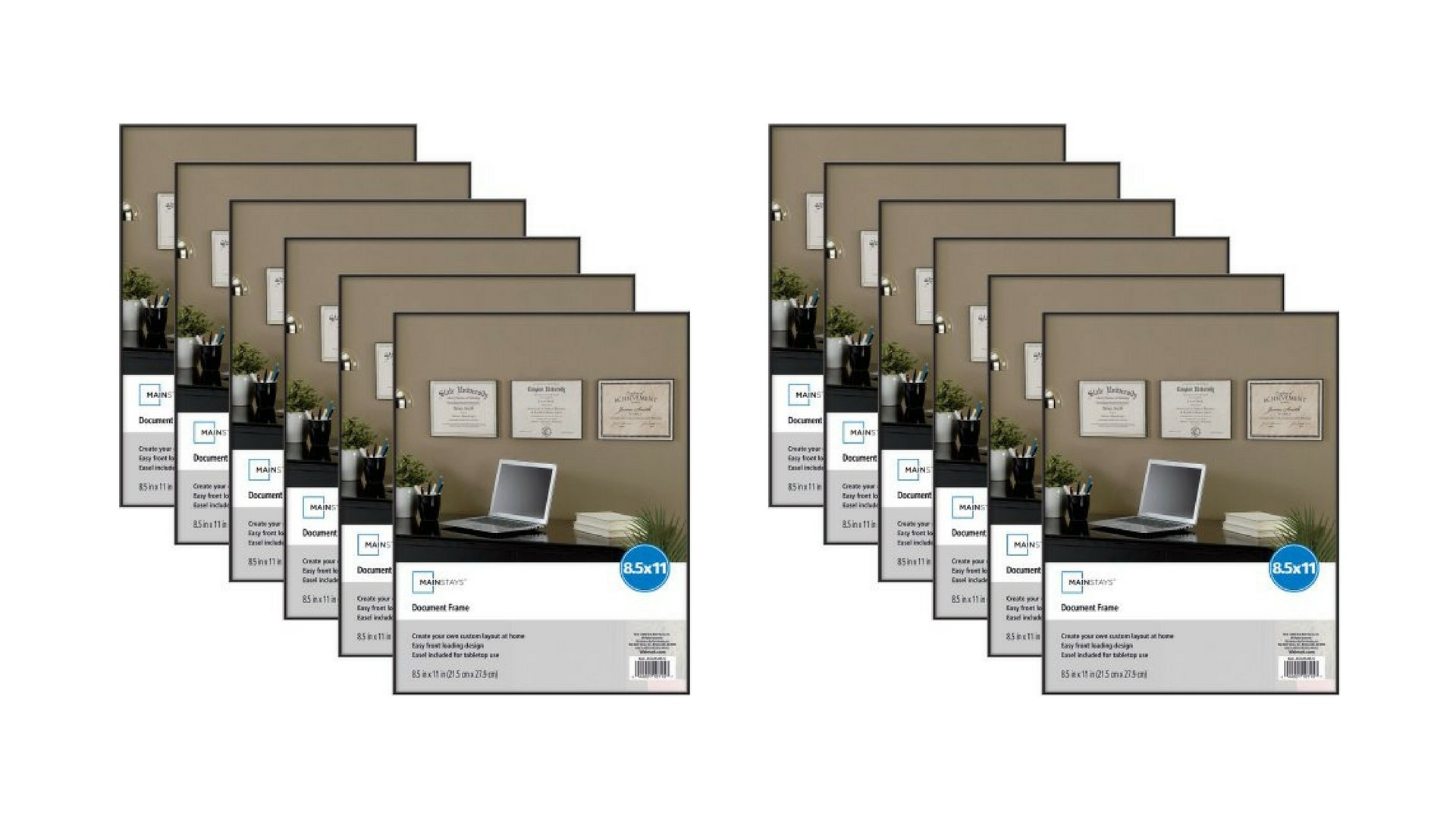 Mainstays 8.5x11 Black Core Mats Document Format Picture Frame, 12-Pieces