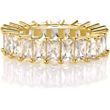 XBRN 14K Gold Plated Ring Cubic Zirconia Emerald Cut Eternity Ring Band for Women Men