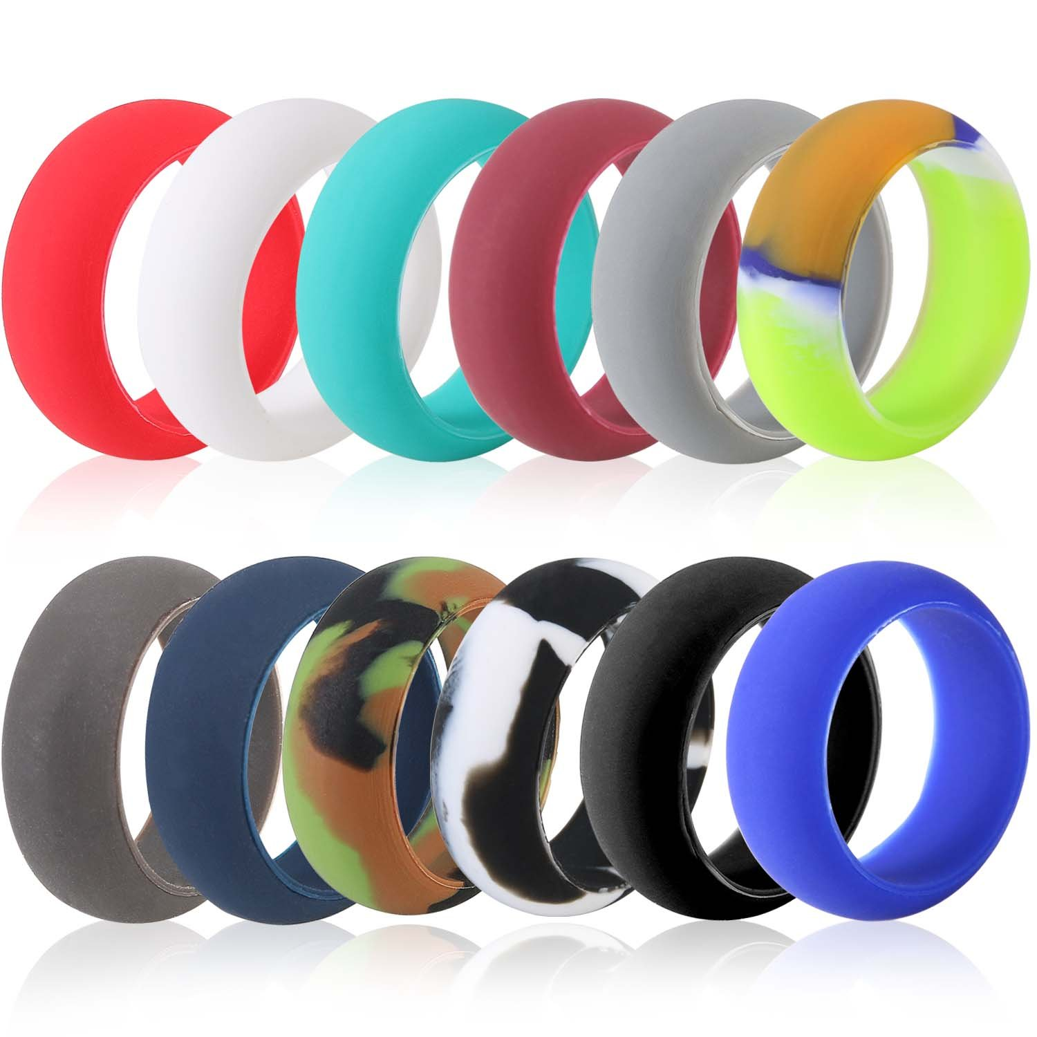 Best Value 12 Pack Silicone Wedding Ring, Premium Medical Grade Wedding-Bands, Outdoor Activities, Sports, Gym, Comfortable Fit & Skin Safe, Antibacterial For Men And Women (Men-Size-11)