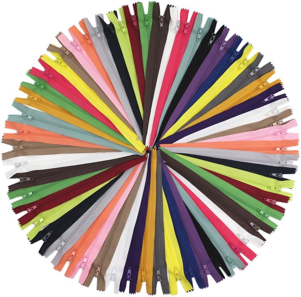 55 cm 50 piezas YaHoGa 55 cm 50 piezas Cremalleras de Colores 20 Colores Mixtos Cremalleras de Nylon para DIY Costura Manualidades Bolsas Chaquetas