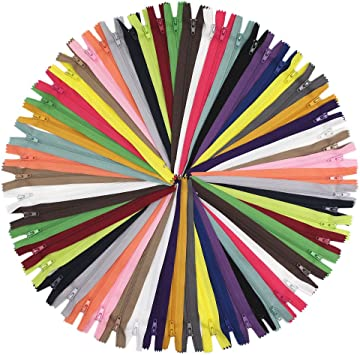 55cm Zippers 22 Inches Nylon Coil Zipper Bulk for Sewing Crafts Tailor Bags 25 Colors JIUZHU 50pcs 22 inch