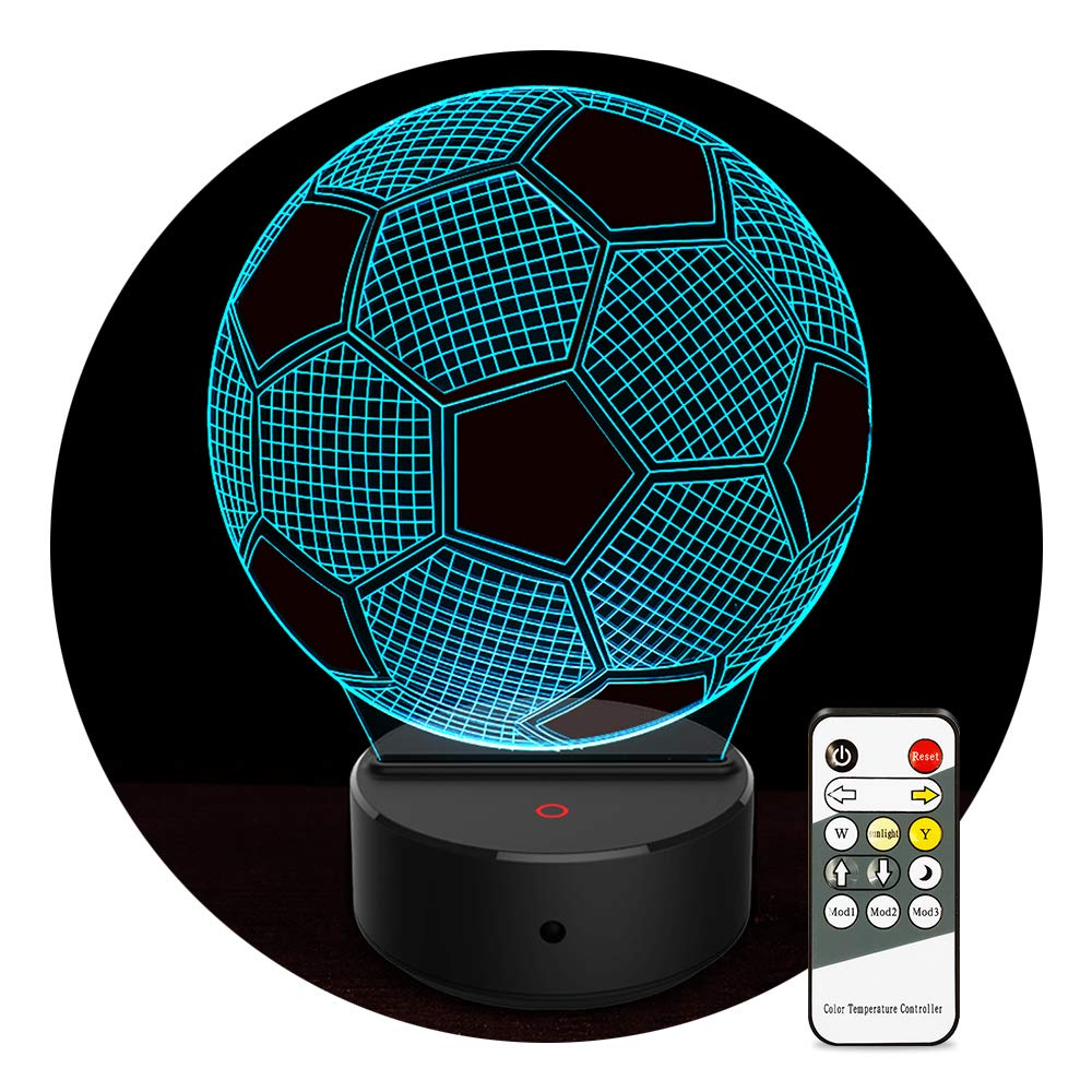 3D Optical Illusion Lamp Soccer Ball Night Light Birthday Gifts for Kids 7 Color Changing Soccer Light with Remote for Home Decor Toys for Sport Fans