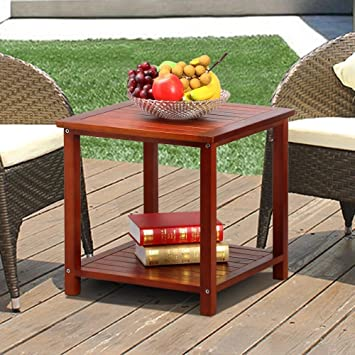 Popamazing 2 Tier Wood Garden Table With Storage Shelf Small Coffee Table Side Table Living Room Terrace Patio Furniture Brown 45x45x45 Cm