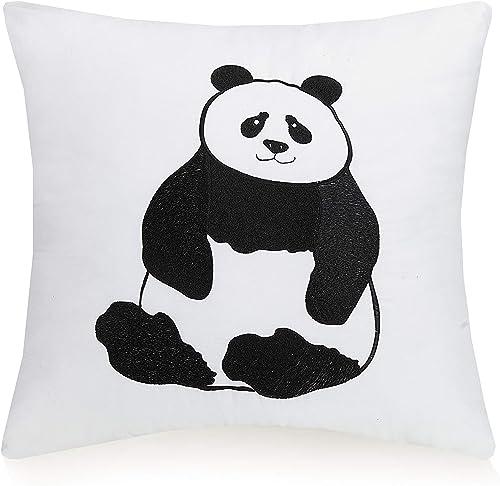 Urban Playground Panda Dec Pillow, 16X16, White