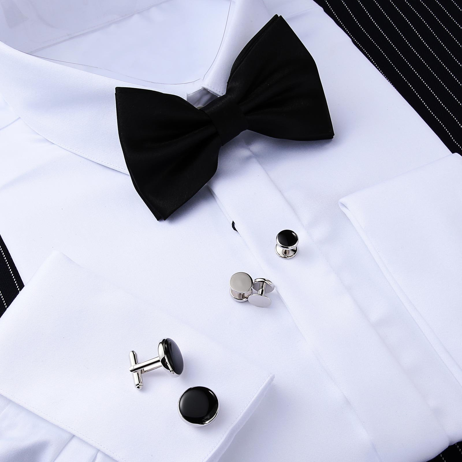 Aienid Mens Cufflinks and Studs for Men, Father of The Bride Cufflinks Set Tuxedo Shirts Bowtie Black by Aienid (Image #5)