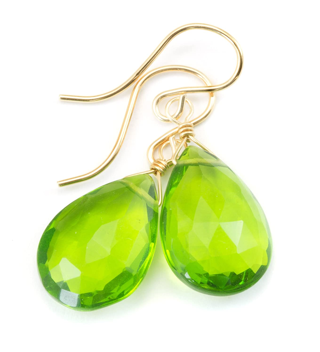 14k Gold Filled Simulated Peridot Green Earrings Teardrop Faceted Pear Dangle Briolettes