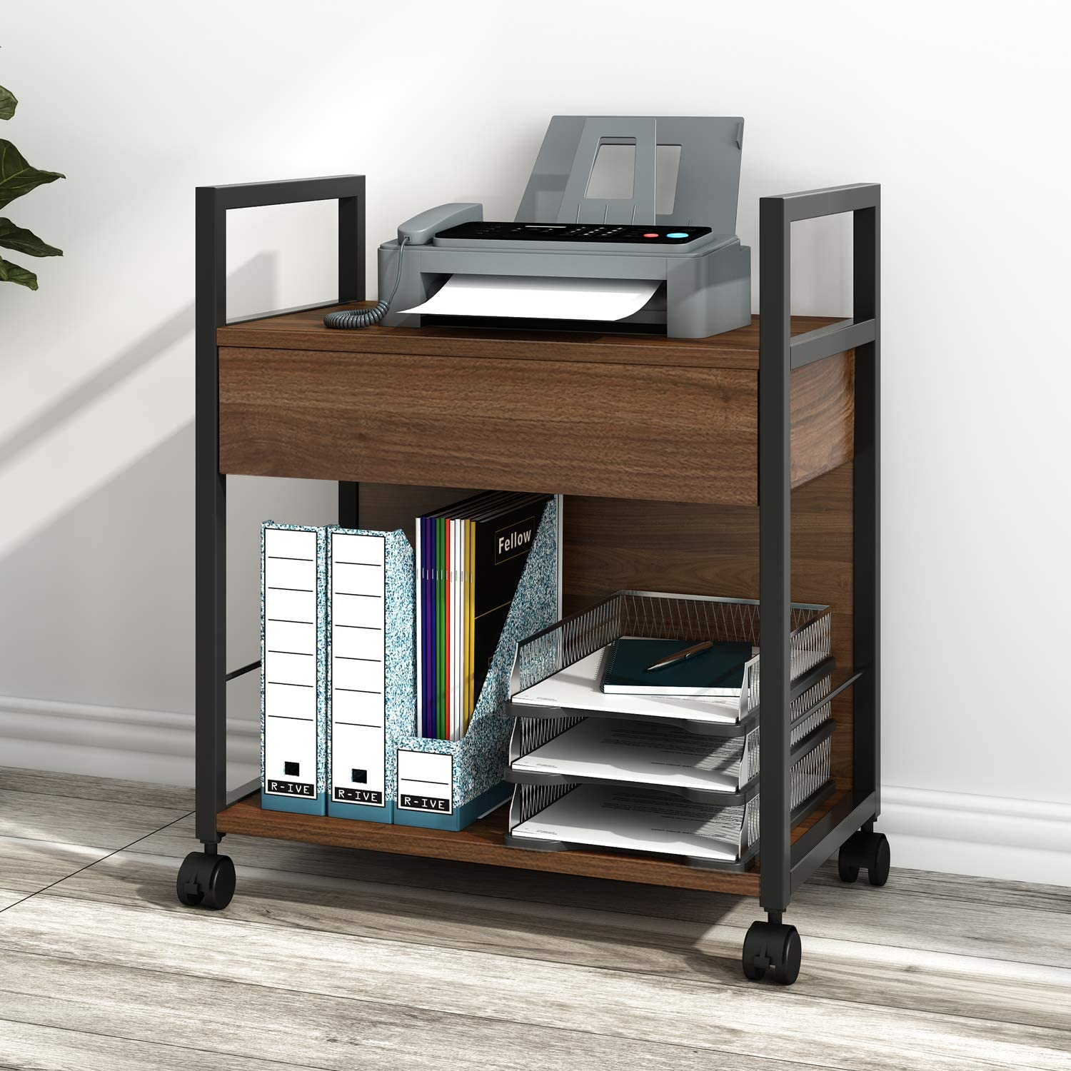 Amazon Com Devaise Mobile Printer Stand With Storage Drawer Modern File Cabinet Printer Cart For Home Office Electronics