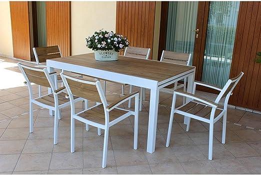 MilaniHome Mesa Rectangular Extensible de Aluminio Blanco y polywood Marrón 160/240 x 90 de Exterior jardín, para Restaurante: Amazon.es: Jardín