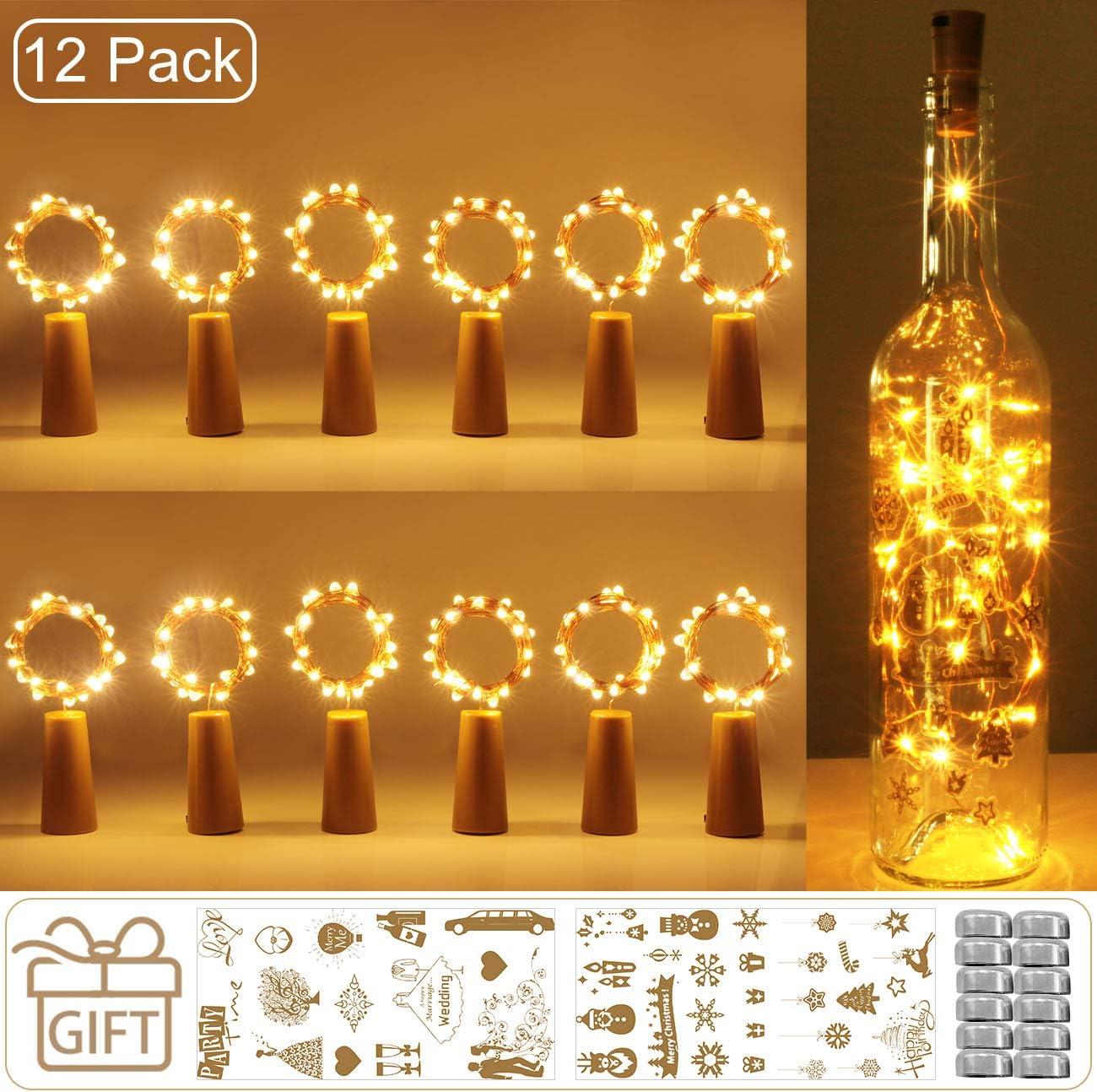 luz de Botella, Kolpop luz Corcho, luces led para Botellas de Vino 2m 20 LED a Pilas Decorativas Cobre Luz para Romántico Boda, Navidad, Fiesta, Hogar, Exterior, Jardín,Blanco Cálido(12 Pack)