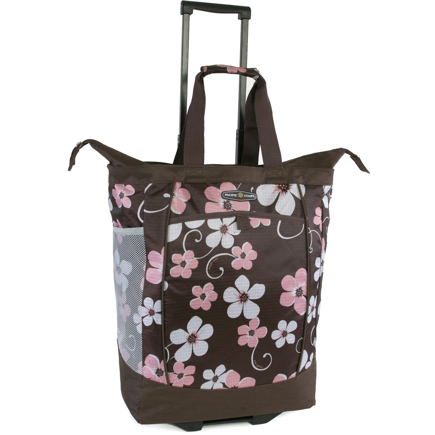 Pacific Coast Signature Large Rolling Shopper Tote Bag, Hawaiian Pink by Pacific Coast Signature