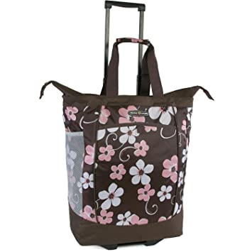 24cba82e78f9 Amazon.com | Pacific Coast Signature Large Rolling Shopper Tote Bag,  Hawaiian Pink | Travel Totes