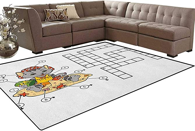 Palabra de búsqueda de palabra, alfombrilla de suelo, juego cruzado para niños, lindo gato en la