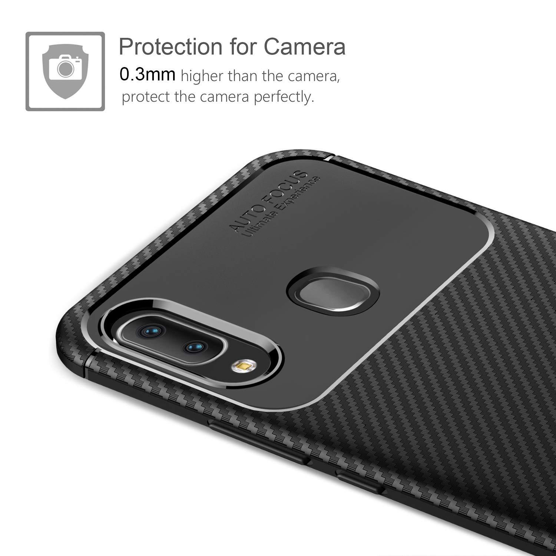 Ultra Mince Silicone Fibre de Carbone TPU Bumper /Étui Housse de Protection Case Anti Rayures Cover pour Samsung Galaxy A20E Coque Samsung Galaxy A20e 2 Pack Verre Tremp/é /écran Protecteur Noir