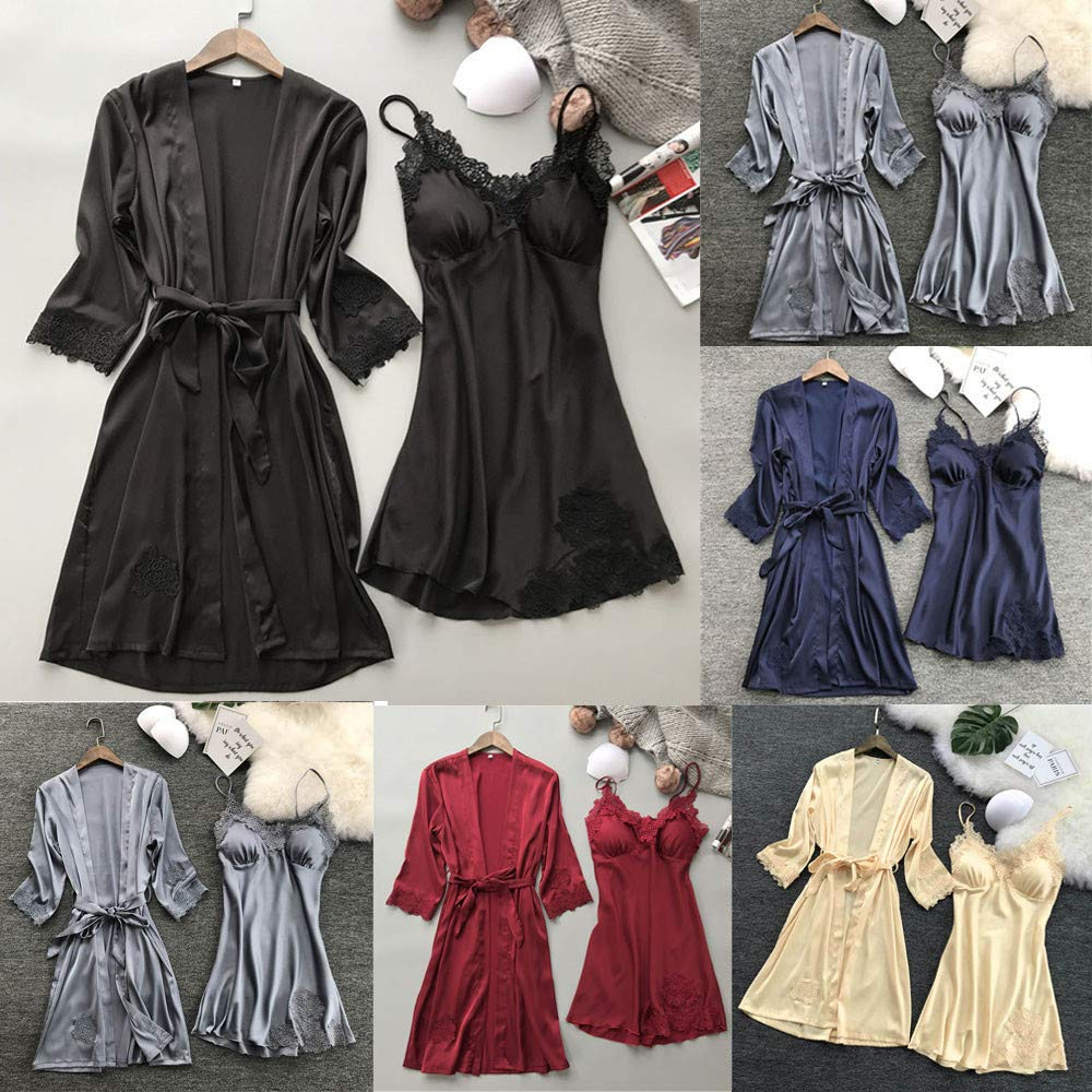 Amazon.com: Lace Silk Robe, Lingerie Women Silk Lace Robe Dress Babydoll Nightdress Sleepwear Kimono Set Malbaba: Clothing