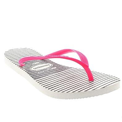 584fabb447ee Havaianas Womens Slim Graphic Vacation Flip Flops Beach Sandals - White Pink  - 10