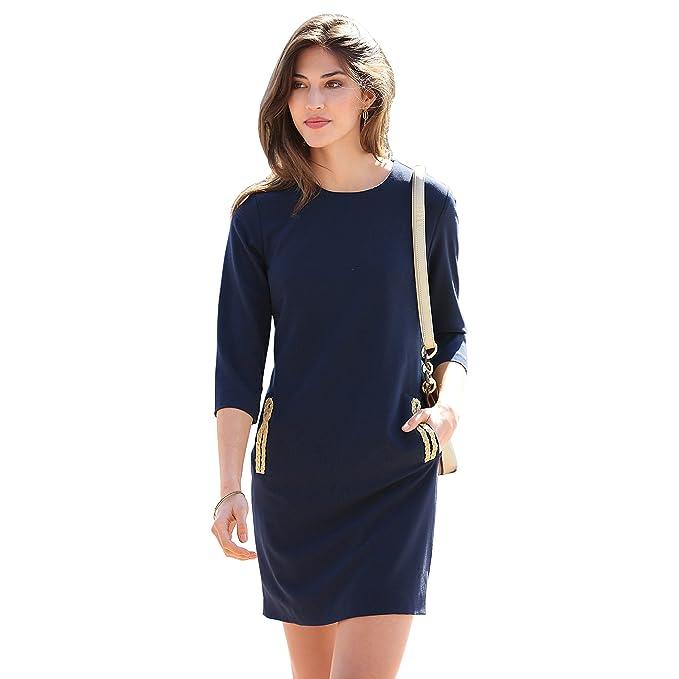 VENCA Vestido Cerrado por Cremallera Trasera Mujer by Vencastyle - 007852,Marino,38