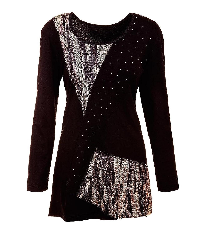 Chalou Damen Shirt Longshirt Langarmshirt Longshirt Übergröße Schwarz Braun 52 54 56 58 60