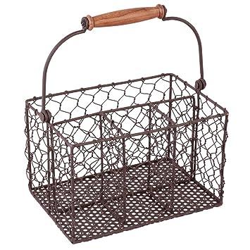 Encantador estilo rústico antiguo marrón granja chickenwire cuatro compartimiento de almacenamiento cesta para cubiertos. El