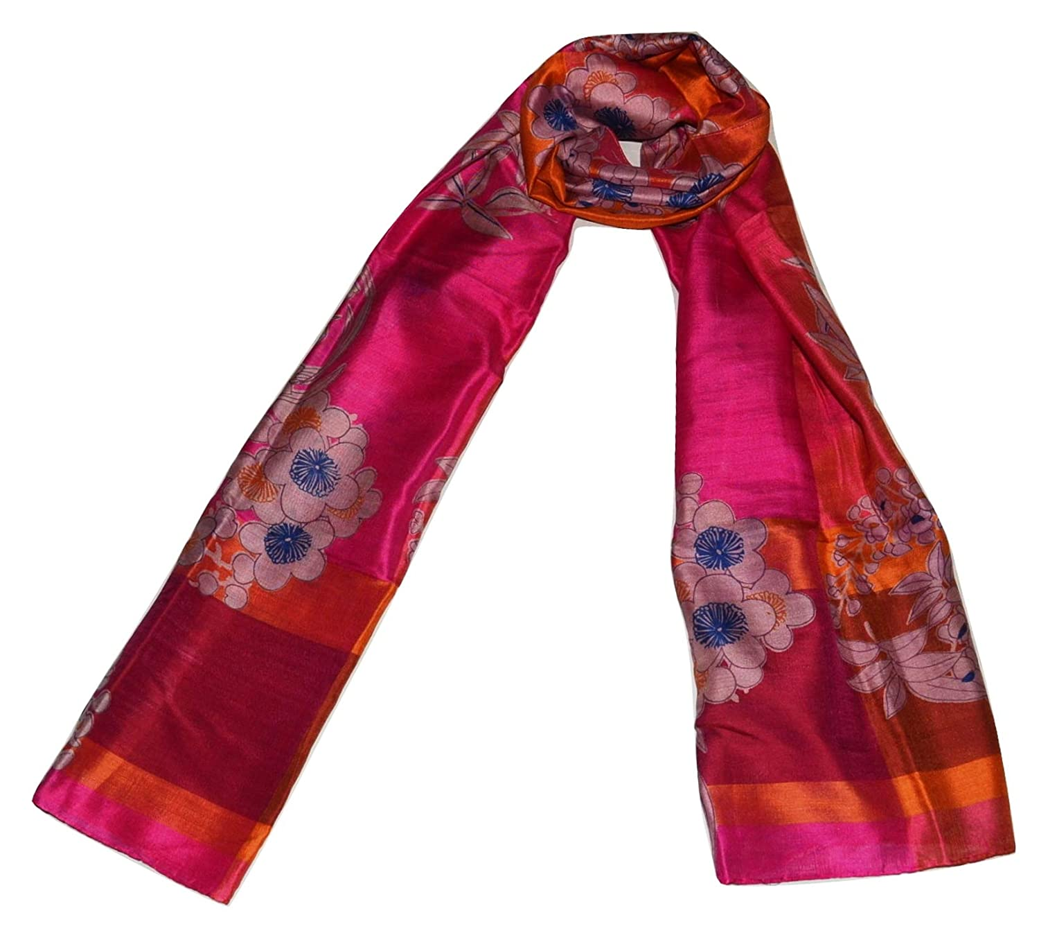 Pink Magenta Handcrafted 100% Pure Mulberry Silk, Floral Print, Scarf Stole.