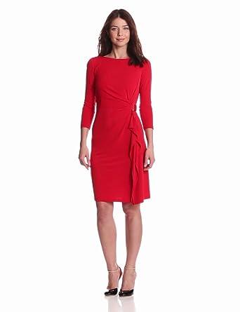 Eliza J Women's Long Sleeve Dress with Side Gathering, Red, 6