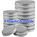 Mason Jar Lids 16 Pack, 8 Wide Mouth and 8 Regular Mouth Mason Jar Lids Leak Proof Jars Lids for Ball, Kerr and More…