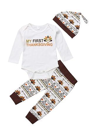 8732c24e2 Amazon.com  Infant Baby Boy Girl Thanksgiving Outfit Newborn 1st ...