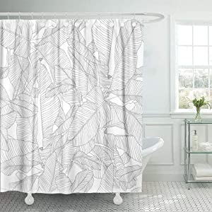 LILYMUA Black and White Fabric Bathroom Shower Curtains,Tropical Palm Leaves Pattern Trendy Fabric with Bath Curtain Hooks Shower Curtain Waterproof Bathroom Decor Shower Curtain,72x78Inch