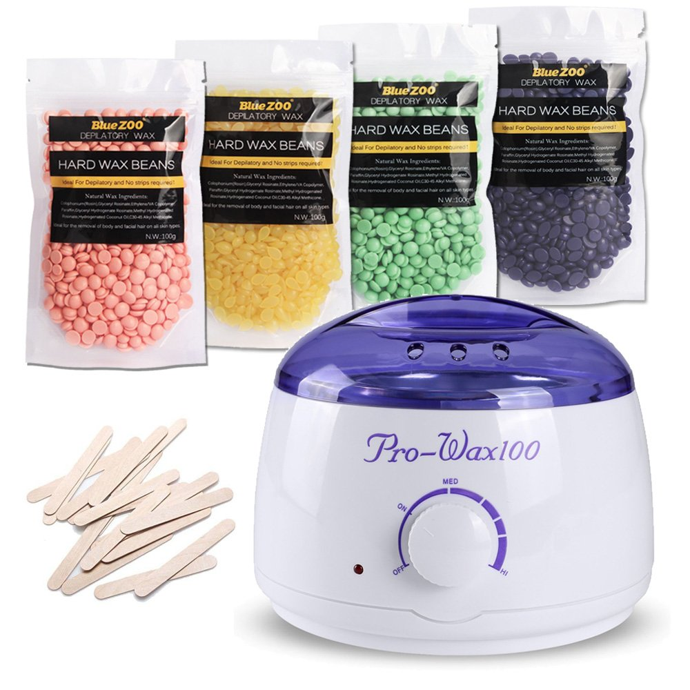 LIGE Waxing Kit Electric Wax Warmer with 4 different flavors Hard Wax Beans and Wax Applicator Sticks (Each Bag of Wax Beans Weighs 3.5 oz) LIEG
