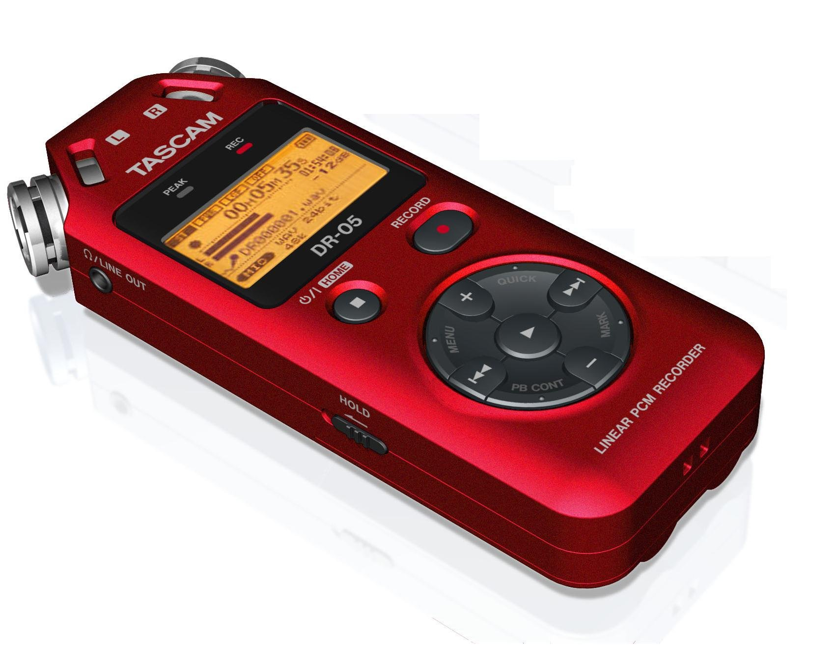Tascam DR-05 Portable Handheld Digital Audio Recorder (Red) with Deluxe accessory bundle by Tascam (Image #3)