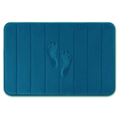 Yimobra Memory Foam Bath Mat Large Size 31.5 by 19.8 Inches, Comfortable, Soft, Maximum Absorbent, Machine Wash, Non-Slip, Thick, Easier to Dry for Bathroom Floor Rug, Peacock Blue