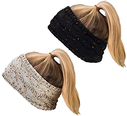 DRESHOW 2 Pack Crochet Knit Fuzzy Turban Headband Warm Bulky Crochet Head Wrap Diadema Ear Warmer para mujeres: Amazon.es: Ropa y accesorios