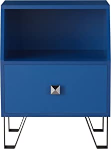 Furniture of America Persephone Modern Wood End Table with Drawer and Shelf, Navy