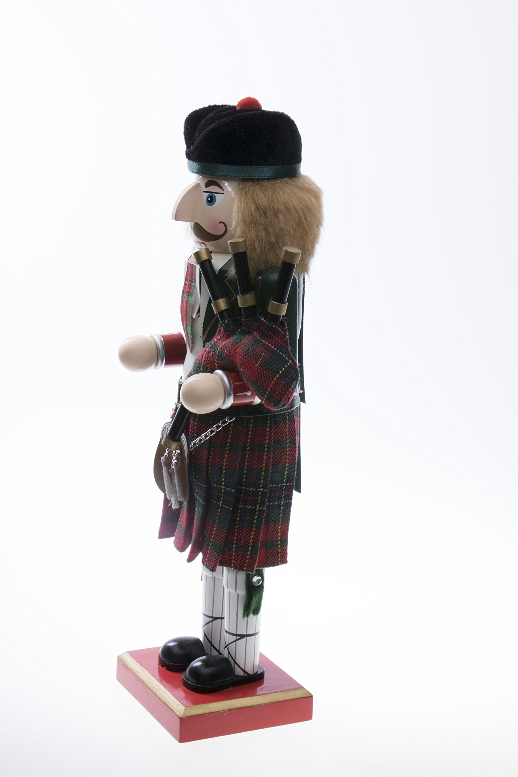 """Clever Creations Scottish Wooden Collectible Nutcracker Wearing Scottish Kilt, Green Coat, and Plaid Hat with Bagpipes 