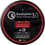 BC Master Quick Charge 3.0 Chargeur Allume Cigare 2 Ports USB 34.5W 3A+QC 3.0 Mini chargeur de Voiture pour Samsung Galaxy S7 / S6 / Note 4 / 5, IPhone, HTC One A9, LG G5, Nexus 6, Huawei P9 / P9 Plus, etc. Un Câble Micro USB de 1 M inclus