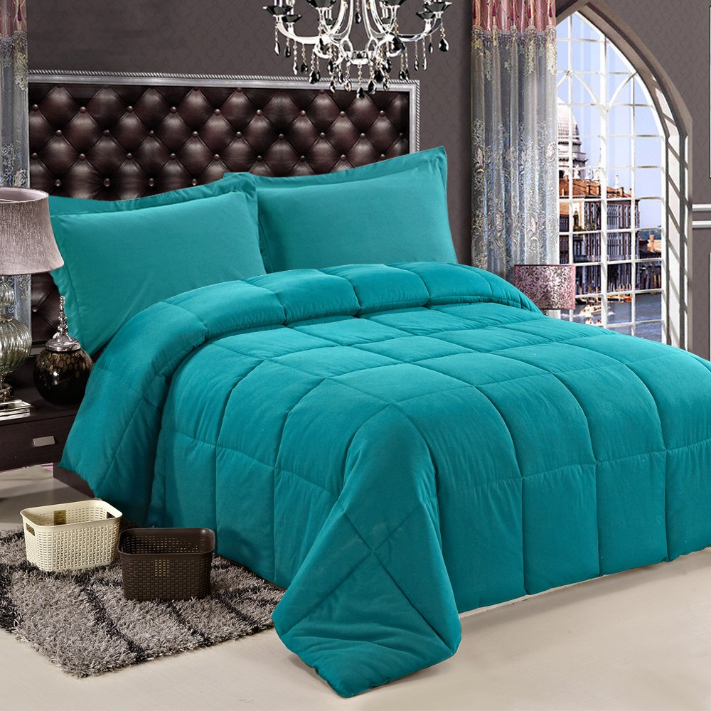 NTBAY Multi Color Down Comforter (Queen, Green)