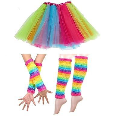 cebb54fe8 Adult Rainbow Costume Sets Wave Wig Long Gloves Stockings Tail Tutu Skirt  Floral Headband (H): Amazon.co.uk: Clothing