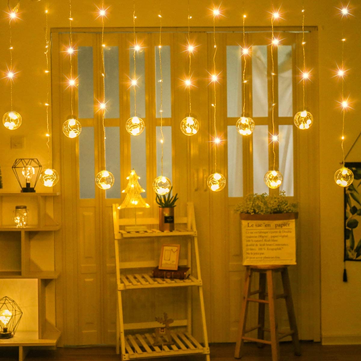 SUPERNIGHT LED Curtain Lights with Crystal Ball, Globe Window Twinkle Fairy String Light Waterproof for Patio,Lawn,Garden,Wedding,DIY Christmas Tree Decoration 9.8 x 9.8 ft,8 Modes,Warm White