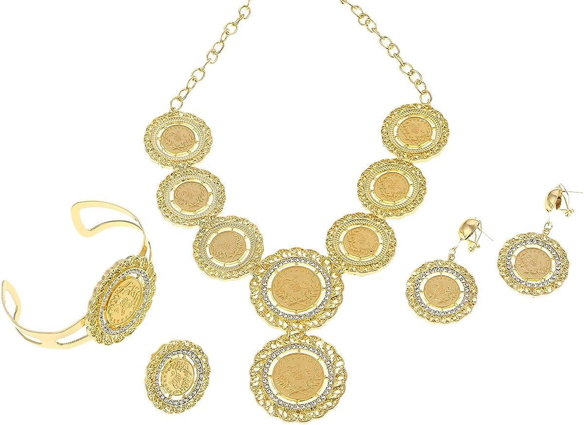 BR Gold Jewelry Halskette Ohrringe Ring Armreif Big Coin Schmuck Sets Gold Farbe T/ürkei M/ünzen arabischen Geschenke Turks Afrika Party