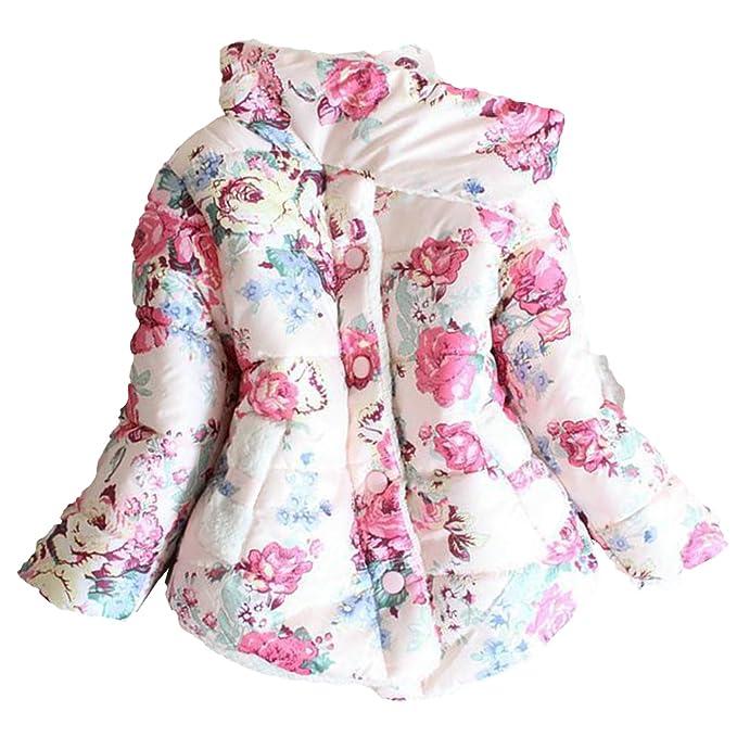 WYPH Winterzauber ropa abrigo niños niñas de algodón gruesa de invierno con capucha de la chaqueta del patrón de flor de piel de la chaqueta: Amazon.es: ...