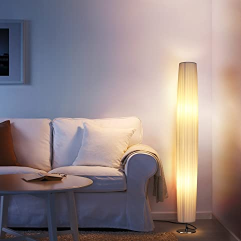 Albrillo Stehleuchte E27 Stehlampe Modell Tube Wohnzimmerlampe Wohnraumbeleuchtung Standlampe Stofflampenschirm Weiss Metall Mit 2 Flamming Max